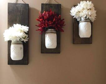 Hanging mason jar wall decor (set of 3)