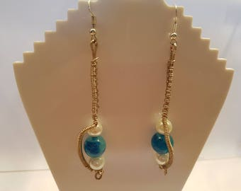 Wire Wrapped Blue and Pearl Effect Earings