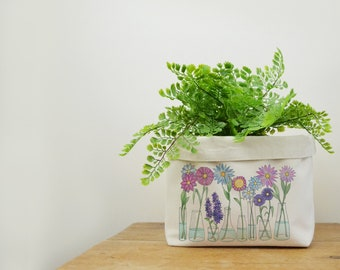 Flowers Canvas Storage Box, Storage Solution, Storage Basket, Fabric Basket, Fabric Organiser, Storage Bin, Nursery Storage, Flower Gift