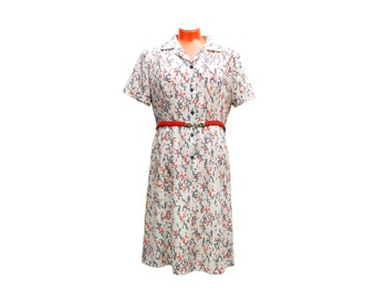 Vintage geometric pattern dress, medium large size short sleeve summer dress, white red blue with braided belt, 1970s Eska made in Austria