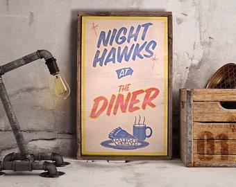 Hand Painted 'Nighthawks at the Diner' Sign (Tom Waits // Edward Hopper // Rustic // Fairground // Fun Fair)