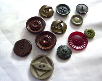 Vintage Buttons - Moss and Mountain Colors Collection - Bakelite / Celluloid / Marbled/ Sew-Thru Assortment / 12 / Art Deco