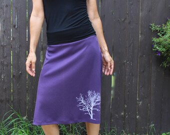 Cotton Jersey Long Skirt Tree Print Purple