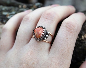 Mexican Opal Rose Gold Ring US size 7.5