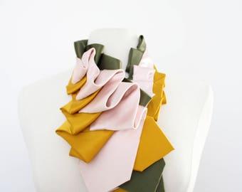 Lapel in Blush Color Block - Edwardian Silk Ruffle Couture Necktie Collar