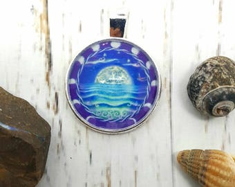Magical Moon, moon phases art pendant, seascape, moonlit ocean image to wear, wearable art with a spiritual connection.