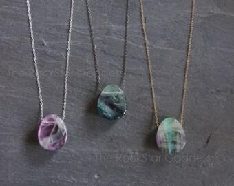 Fluorite / Fluorite Necklace / Fluorite Crystal / Fluorite Pendant / Silver Fluorite Necklace   /Flourite Jewelry / Gold Fluorite Necklace