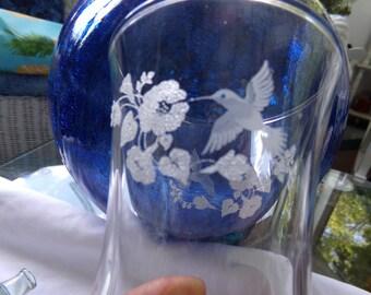 Beautiful Votive Cups .Hummingbird Votive Cup . Set of 3 . Glass Votive Cups .Vintage Princess House Votive Cups . Hurricane Votive Cups.