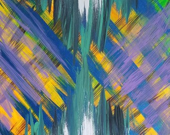 """Purple, Orange, Blue, Green, Black and White Original Acrylic Abstract Painting on Canvas """"Series 9 IV"""" Wall Art, Home Decor, Modern Art"""