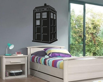 New Doctor Who TARDIS Wall Decal Black Wall Stickers Large 87cm X 58cm