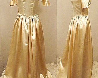 Vintage 30s Liquid Satin Gold Wedding Dress Evening Dress Size 4