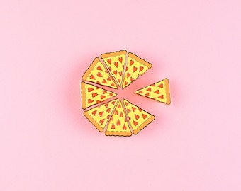 Pizza Enamel Pin - Heart Shaped Pepperoni Pizza Slice Lapel Pin