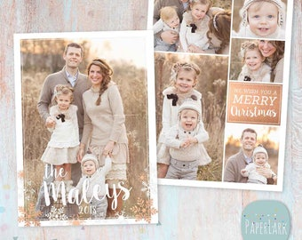 Christmas Card Template - Christmas Photo Card - Photoshop template - AC068 - INSTANT DOWNLOAD