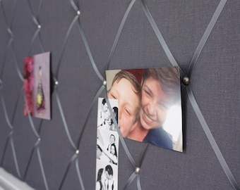 Memo board-Klemmwand of linen in anthracite by Marengu