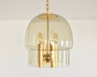Smoked glass and Brass pendant light with 4 torches and chain | Mid Century | 70's |