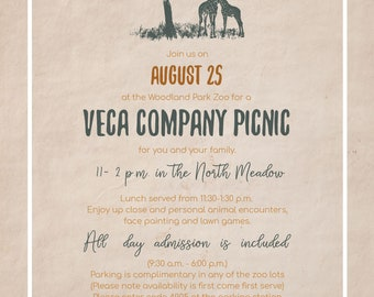 Zoo Corporate Picnic Invitations, Company Picnic Zoo Invitations, Safari Vintage Invitations, Travel Themed Wedding Invitations, Destination