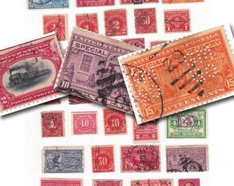 antique postage stamps digital collage sheet, printable digital download no. 690.