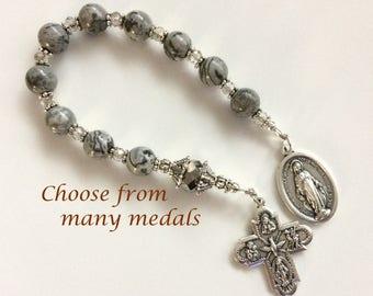 Gray Jasper Chaplet, Saint Medal Chaplet, Personal Chaplet, Pocket Rosary, One Decade Rosary, Gemstone Chaplet, Catholic Chaplet
