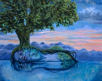 sleeping beauty surreal portrait goddess oil painting dryad tree water reflection sunset Print
