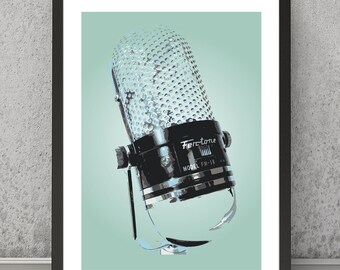 Microphone print, Microphone poster, Microphone art, Microphone wall art, Microphone design poster, A3 or A4 poster, retro Microphone print