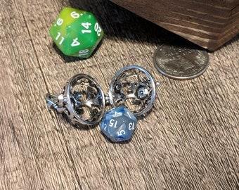 DnD Dice Pendant | D20 | Emergency Mini Dice Cage Necklace | D12 D10 D8 D6 D4