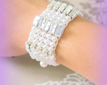 Bracelet hand woven Swarovski wedding ceremony France ivory Crystal pearls