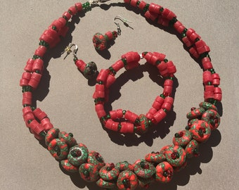 Vintage African Glass beaded Necklace Set