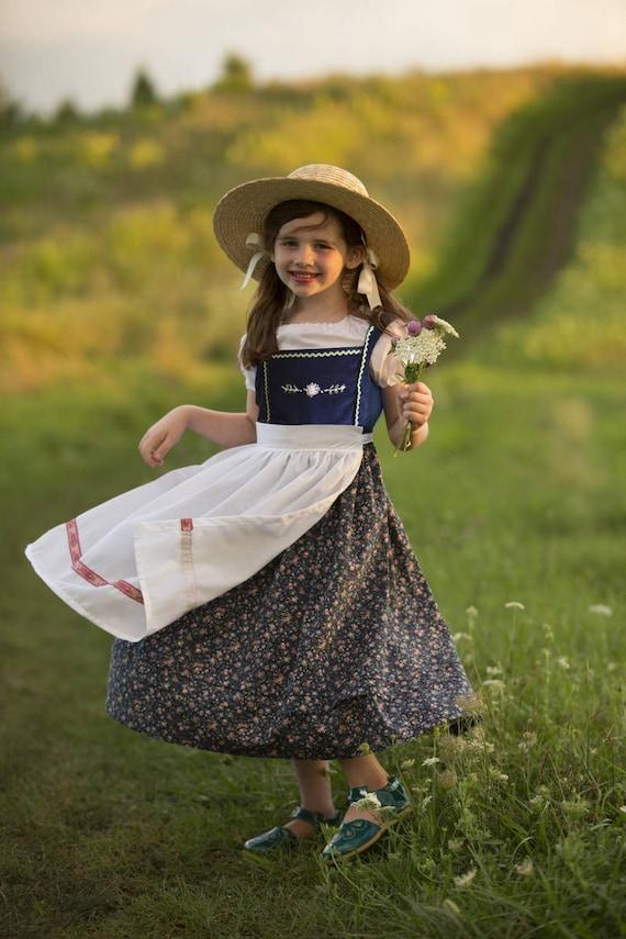 Blue Hand Embroidered Dirndl Dress Sizes 2-12