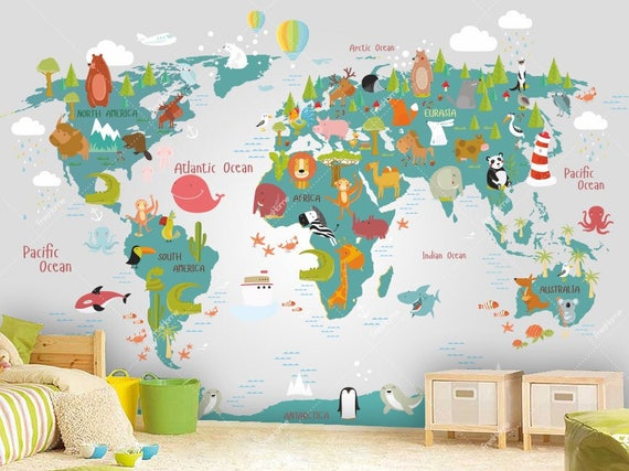 World map wall mural in teal and light gray children map with gumiabroncs Images