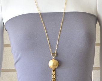 Long Gold Gemstone and Tassel Pendant Necklace, gold necklace, gemstone necklace, gold tassel necklace, delicate necklace, long gold pendant