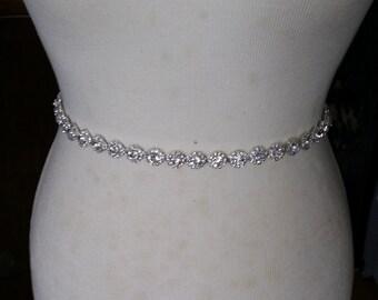 Wedding Dress Sash/ Thin Wedding Dress Belt/Crystal Sparkle Sash/ Rhinestone Sash/Wedding Dress Tie Back Belt/Silver Wedding Belt/