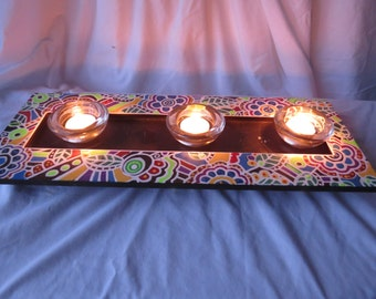 Colorful Zentangle Candle Tray