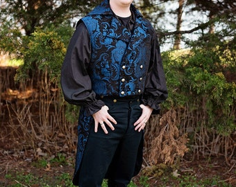 Blue and Black Fancy Airship Pirate Jacket, Double-breasted, Short , Sleeveless, Tails, Kilt Coat, Steampunk, Victorian, Dapper, Western