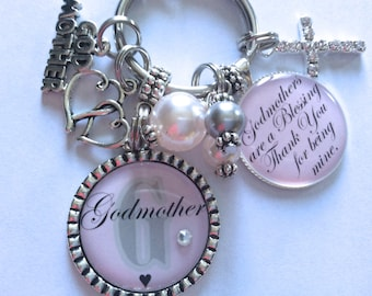 PERSONALIZED GODMOTHER Gift, Personalized Godmother Keychain, Godmother Birthday Gift, Godmother Gift, Gift For Godmother, Baptism Gift