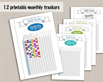 Printable monthly habit tracker template for bullet journal - digital PDF bujo monthly tracker - bullet journal monthly planner printable