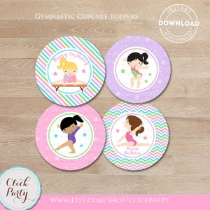 Gymnastic Cupcake Toppers, Gymnastic Party Printable, Gymnastic Stickers, Gymnastic favors DIY, Party Decorations Instant Download