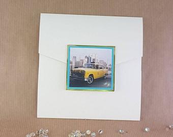 New York yellow taxi cab Tiffany blue turquoise trim pocket wedding invitation