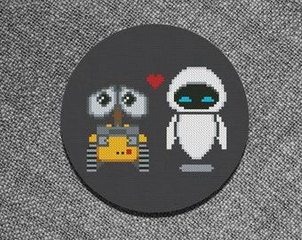 Cross Stitch Pattern Wall-E and Eva Love Instant Download PDF Counted Chart