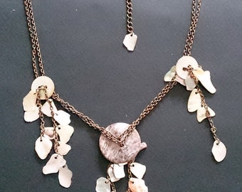 Genuine Mother of Pearl Shell Dangle Necklace x 2, Dangle Bracelet x 1