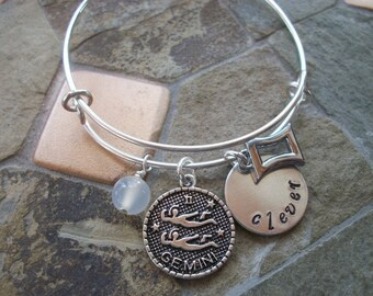 Gemini Adjustable Bangle - Zodiac Jewelry - What's Your Sign - Air Element - Horoscope Bracelet