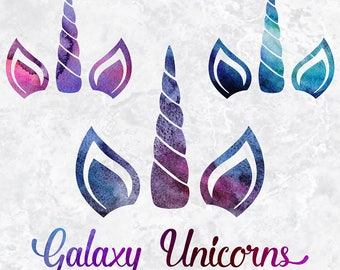 Watercolor Galaxy Unicorn Clipart, Galaxy Unicorn Faces, Galaxy Unicorn Graphics, Baby Shower, Wedding Invites, Birthday Party, BUY5FOR8