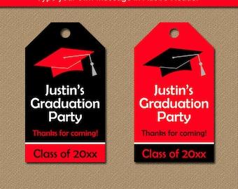 Printable Graduation Tags, Graduation Thank You Tag, EDITABLE Graduation Hang Tags, Party Favor Tags, Red Black Graduation Party Tags G1