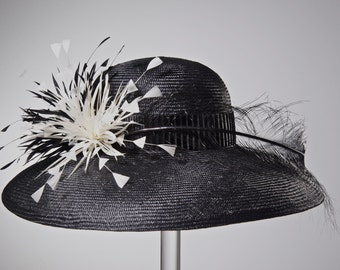 Kentucky Derby Hat Women's Straw Black Hat Black and White Hat Wide Brim