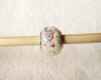 Fun White Beads With Multi-color Confetti Spots Murano Glass Bead for European Charm Bracelets 925 Sterling Silver F070