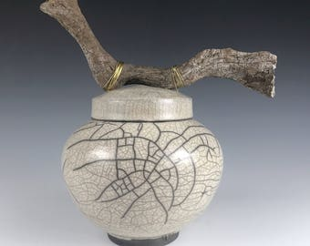 Urn, Pet Urn or Keepsake Urn Raku Crackle Glaze with Driftwood