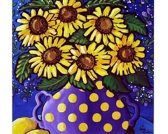 Sunflowers In Purple With Lemons  Fun Colorful  Whimsical Folk Art Ceramic Tile