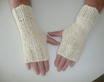 SALE: Hand Knit Fingerless Mittens/Texting Gloves- Cream Glitter Wrist Warmers- One Size Fits All