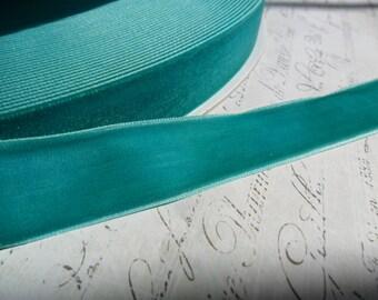 5/8 inch Aqua Jade Velvet Ribbon