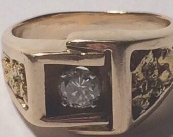 Estate Jewelry-14k Gold and men's diamond ring.
