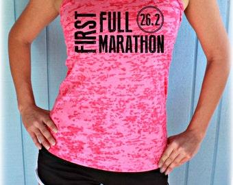 Womens First Full Marathon Running Tank Top. 26.2 Race Training Tank. Burnout Tank Top. Workout Inspiration.